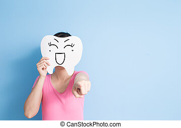 woman take smile tooth