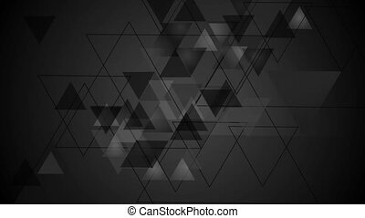 Tech black video animation with triangles - Tech black...