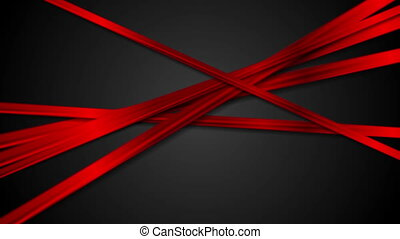 Abstract glossy red stripes on black background video...