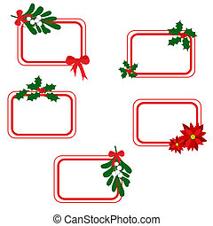 Christmas cards - Set of Christmas cards with holly berry,...