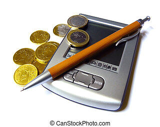 Counting Profits - European money next to a PDA and a pen...