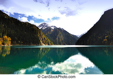 Landscape of forest and lake in China Jiuzhaigou - Forest...