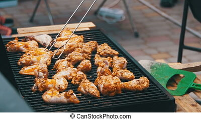 Grilled chicken on the grill. Frying Fresh Meat, Chicken...