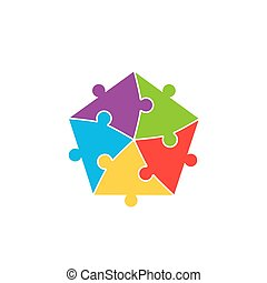 Colorful jigsaw puzzle pieces background