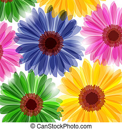 Fantasy floral background - Bright daisy flowers in sunlight...