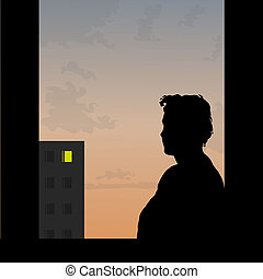 One sad love story - Sad man looks at window of the beloved...