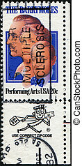 The Barrymores - USA - CIRCA 1982: A stamp printed in United...