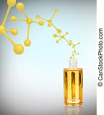Anti-aging cosmetics oil with white molecules.