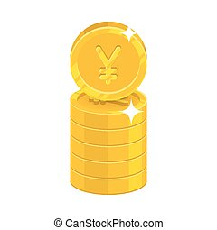 Column gold Chinese yuan or Japanese yen isolated cartoon icon