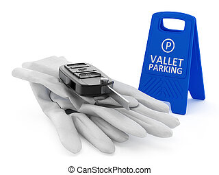 Car key, vallet parking board and white gloves. 3D...