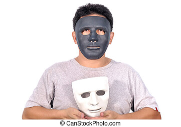 Middle Asian man 42 Years old select white and black mask...