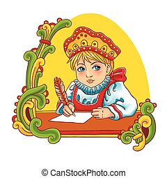 Vector colorful illustration of a cute Russian girl in traditional dress.