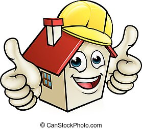 House Cartoon Mascot Character Wearing Hard Hat