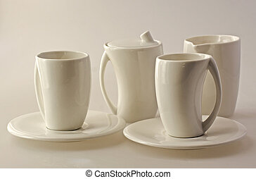 Cups - White set of cups for breakfast over white