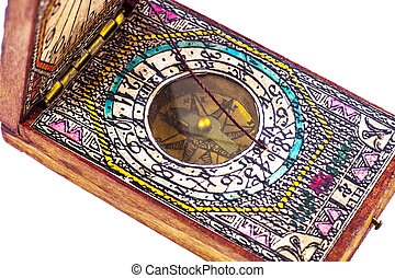Early 18th Century Compass in Wooden Box on White...