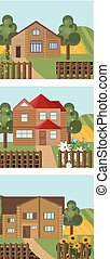 Set of a wood house in different seasonal times. Vintage old home. Vector illustration