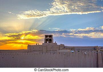 Khiva city wall in sunset, Uzbekistan