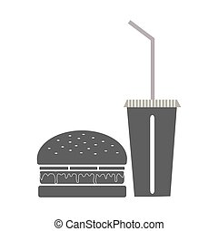 Greyscale fast food burger and drink