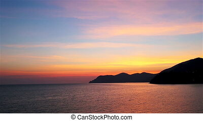 Magical sunset and rocky coast,Cinque Terre National...