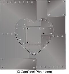 background heart iron - from sheet metal, fastened with...