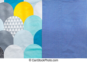 Background of colorful fabrics half screen