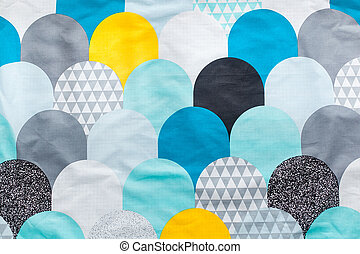 Background of colorful fabrics textile blue white yellow...
