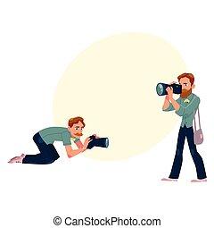 Set of cartoon photographers at work