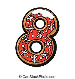 Christmas gingerbread cookie - eight, 8 number - Glazed...
