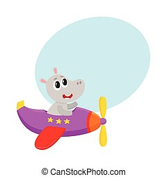Cute funny hippo pilot character flying on airplane, cartoon illustration
