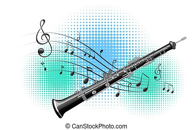 Flute with music notes in background