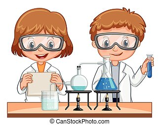 Boy and girl do science experiment together illustration