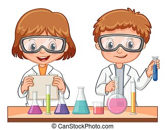 Two students do science experiment illustration