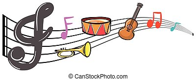 Musical instruments and music notes in background