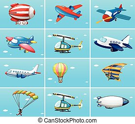 Different types of aircrafts illustration
