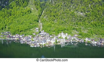 Hallstatt aerial view, Austria - Hallstatt old town and...