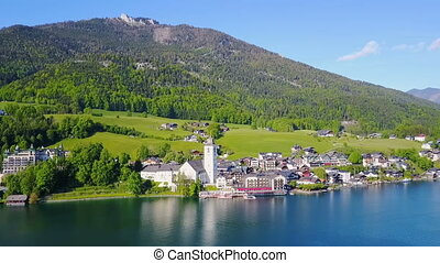St. Wolfgang aerial view - St. Wolfgang town and Wolfgangsee...
