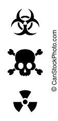 Vector biohazard and radioactive warning signs