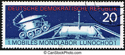soviet moon machine Lunokhod - 1 - GRD - CIRCA 1971: stamp...