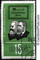 Marx, Engels and title page of Communist Manifesto - GERMANY...