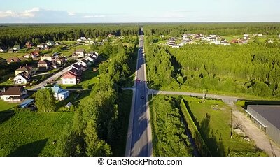 road Aerial view of countryside, drone top view 4K UHD video...