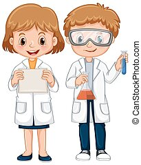 Boy and girl in science gown illustration