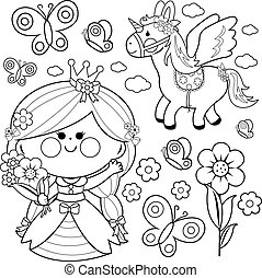 Princess fairytale set. Black and white coloring page vector illustration