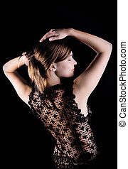 Black lacy jacket on naked spine - Young beauty woman with...