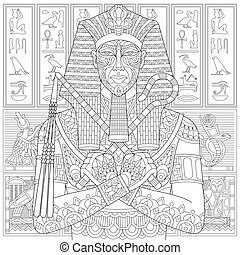 Zentangle stylized pharaoh