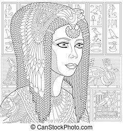 Zentangle stylized Cleopatra (Nefertiti) - Coloring page of...