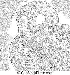 Zentangle stylized flamingo - Coloring page of flamingo bird...