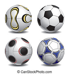 Soccer Ball Set - Realistic vector illustration of a soccer,...
