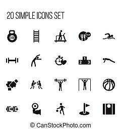 Set Of 20 Editable Lifestyle Icons. Includes Symbols Such As Gauntlet, Platform For Winner, Balance And More. Can Be Used For Web, Mobile, UI And Infographic Design.