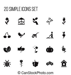Set Of 20 Editable Planting Icons. Includes Symbols Such As Handcart, Daffodils, Grass Cutting Machine. Can Be Used For Web, Mobile, UI And Infographic Design.