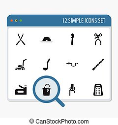 Set Of 12 Editable Equipment Icons. Includes Symbols Such As Grass Cutting Machine, Garden Scissors, Sheave And More. Can Be Used For Web, Mobile, UI And Infographic Design.
